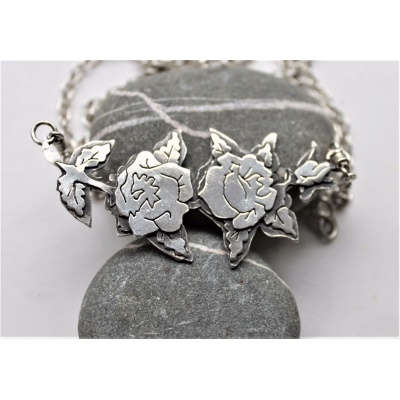 Rose Garland, Tattoo Inspired Silver Necklace