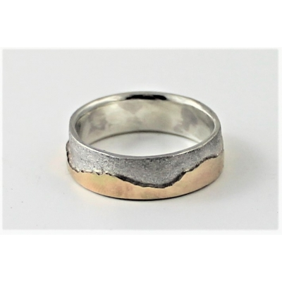 Textured Sterling and 9K yellow Gold wedding ring, 6mm