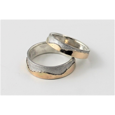 Pair of Mountains Wedding Rings in Silver and 9ct Gold
