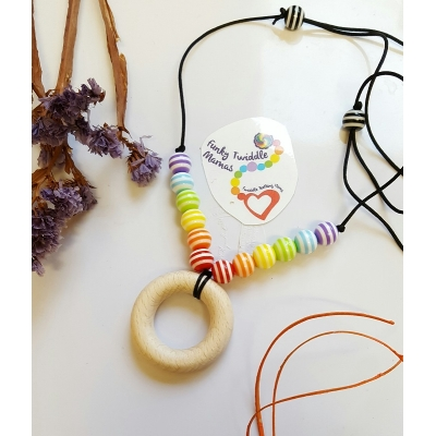Rainbow stripe nursing teething distraction babywearing necklace. WOOD and ACRYLIC