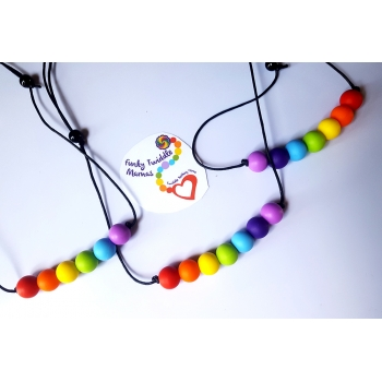 Silicone rainbow 16mm Baby teething necklace autism sensory nursing breastfeeding babywearing