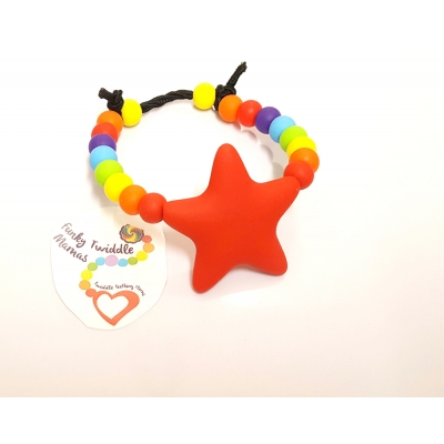 Silicone rainbow Baby teething bracelet sensory nursing breastfeeding babywearing