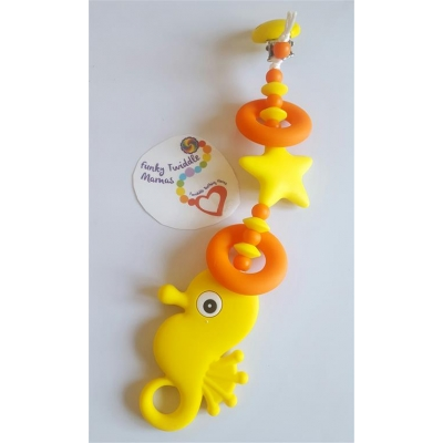 Sonny the sunshine seahorse Quad teething clip sling breastfeeding nursing distraction toy SILICONE