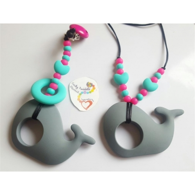 Grey whale pink turq teething clip and necklace SET sling breastfeeding nursing distraction toy SILICONE COPY