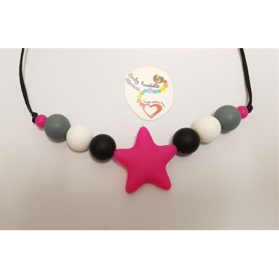 Monochrome silicone high sensory necklace with pink star 19mm beads