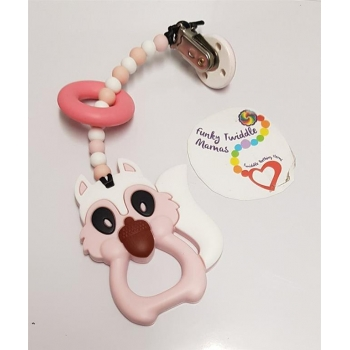 Squirrel pink teething clip ..