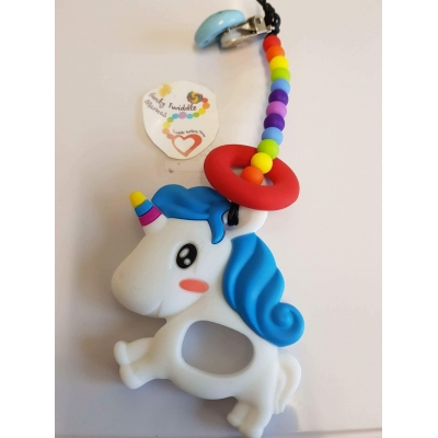 Unicorn teething clip sling breastfeeding nursing distraction toy SILICONE