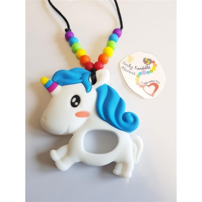 Standard rainbow UNICORN teething fiddle twiddle nursing teething necklace