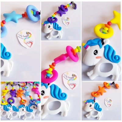 Unicorn DELUX teething clip sling breastfeeding nursing distraction toy SILICONE