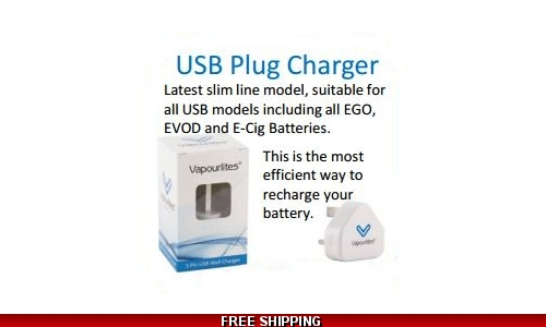 Vapourlites wall 3 pin plug usb charger