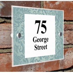 House Number Sign Acrylic Plaque with Colour Durable Print