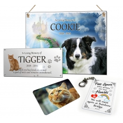 Pet memorial Plaque Set Rainbow Bridge