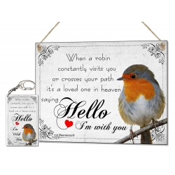 Robin Loved One In Heaven Metal Plaque & Keyring Set