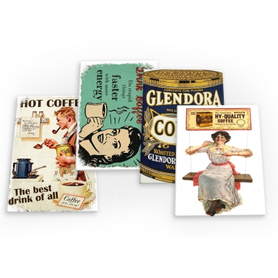 Coffee Vintage 4 X Fridge Magnets B