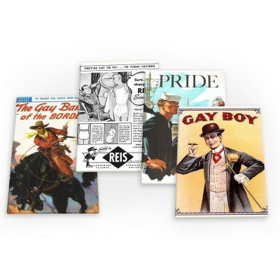 Gay Man Vintage 4 X Fridge Magnets A