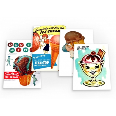 Ice Cream Treats Vintage 4 X Fridge Magnets A