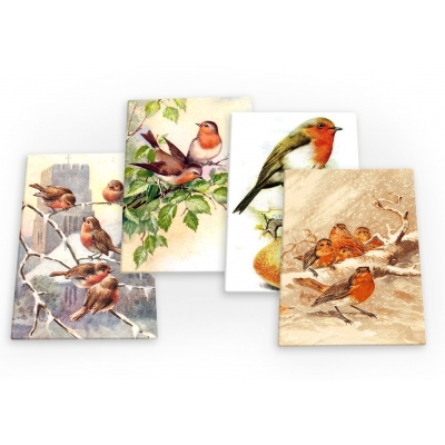Robins Robin Red Breast Bird Vintage Set B 4 X Fridge Magnets A