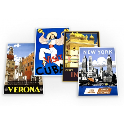 World Travel Holiday Vintage 4 X Fridge Magnets A