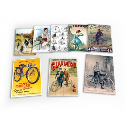Bike Cycling Bicycle Vintage Ride Set C 8 X Plastic Poster Fridge Magnets