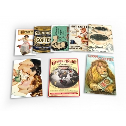 Coffee Vintage 8 X Plastic Poster Fridge Magnets