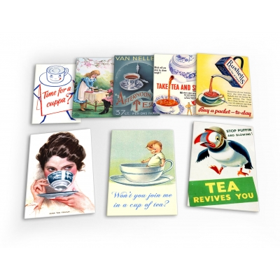 Cup Of Tea Teatime Vintage 8 X Plastic Poster Fridge Magnets