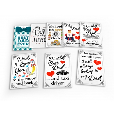 Dad Daddy Fathers Day 8 X Plastic Poster Fridge Magnets