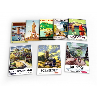 England Vintage Travel 8 X Plastic Poster Fridge Magnets