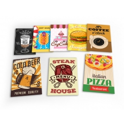 Food & Drink Burger Hot Dog Coffee Diner Set A 8 X Plastic Poster Fridge Magnets