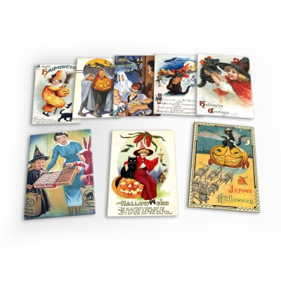 Halloween Vintage 8 X Plastic Poster Fridge Magnets