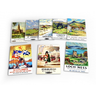 Scotland Vintage Travel 8 X Plastic Poster Fridge Magnets