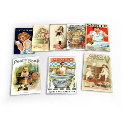 Soap Vintage Set B 8 X Plastic Poster Fridge Magnets