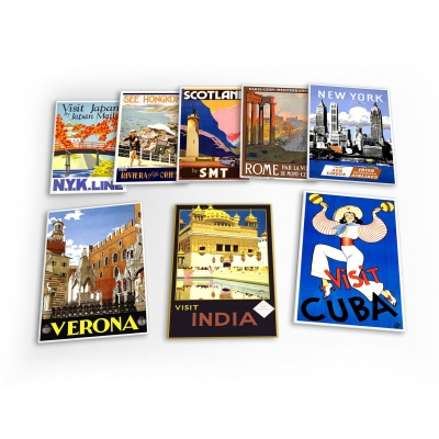 World Travel Holiday Vintage 8 X Plastic Poster Fridge Magnets