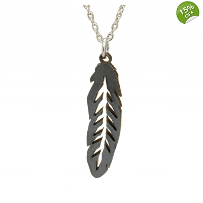 Unisex Feather Charm Necklace title=