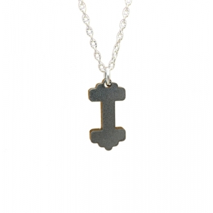 Unisex Dumbbell Weight Charm Necklace