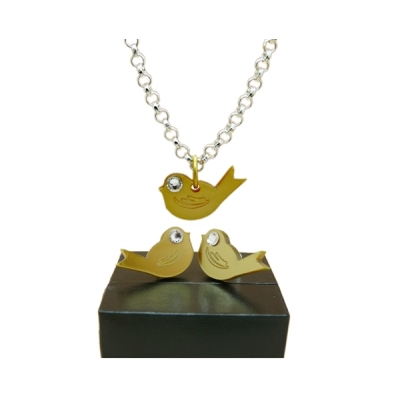 Chirpy Gold Bird Studs and necklace Set