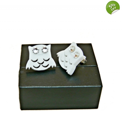 Snowy White And Crystal Owl Studs title=