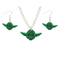 Yoda Earrings and necklace Set