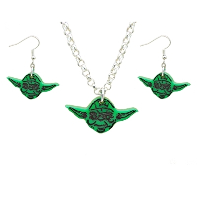 Yoda Earrings and necklace Set title=