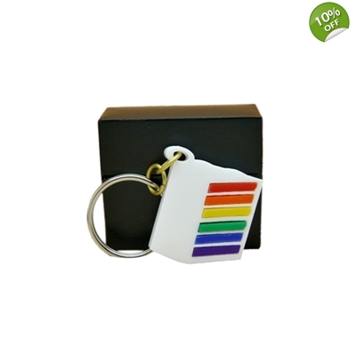 Deluxe Rainbow Layer Cake Slice Keyring