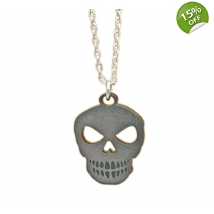 Unisex Silver Skull Charm Necklace