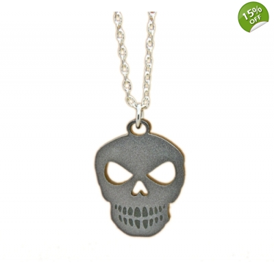 Unisex Silver Skull Charm Necklace title=