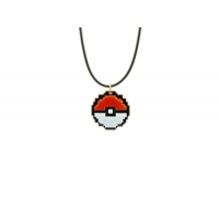 8bit Retro Pokeball Charm Necklace