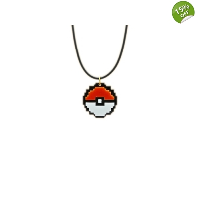 8bit Retro Pokeball Charm Necklace title=