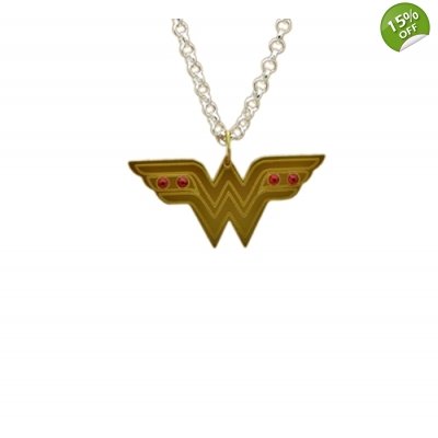 Wonder Woman Bejeweled Charm Necklace title=