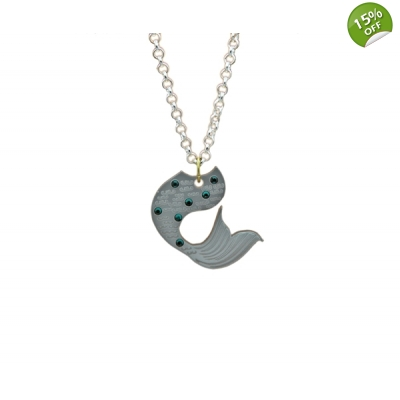 Mermaid tail Bejeweled Charm Necklace title=