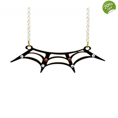 Spiders web collar necklace title=