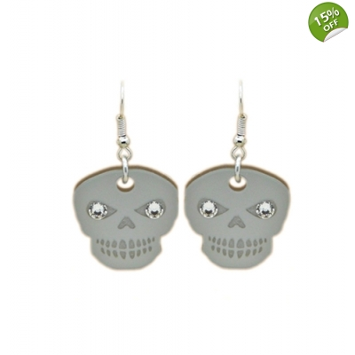 Crystallised Skull Candy Earrings title=