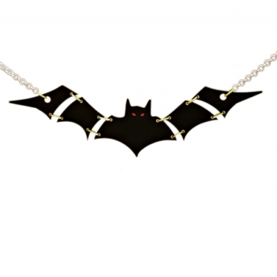 Ltd Edt Black Bat Statement Charm Necklace title=