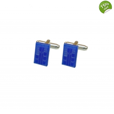 Dr Who Tardis Phone Box Cufflinks title=