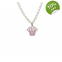 Pearly Pink Cupcake Necklace
